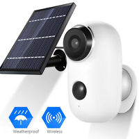 1080P HD WiFi  Solar Powered Rechargeable IP Camera Outdoor PIR Night Version UK