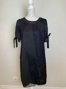 REVIEW Dress Size 10 Black Purple LBD Lined Party Cocktail Casual Summer