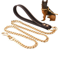 11.5mm Pet Dog Steel Traction Rope Training Chain Leather Tracking Leash