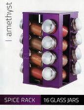 Frascos de Especias Hierba de almacenamiento de información de vidrio de 16Pc cocina púrpura Giratorio Soporte Rejilla Conjunto