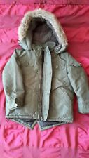 EX COND BOY'S GEORGE KHAKI GREEN PADDED PART FLEECE LINED COAT + HOOD 3-4 YRS