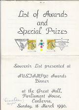 1990 Austamp 90 stamp exhibition awards list gutter & commemorative postmarks