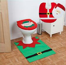 Santa Clause / Elf Toilet Seat Cover & Floor Mat Bathroom Father Christmas Xmas