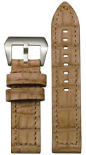 22mm XL Panatime Cork Vintage Leather Watch Band w/Gator Print & Match Stitch
