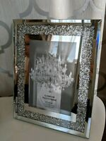 "Glamour Silver Mirrored Crushed Crystal Diamond Photo Frame 4x6"" 10 x 15 cm"