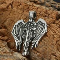 "large ARCHANGEL MICHAEL ST PROTECT pendant 925 Sterling Silver 22""  Necklace men"