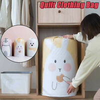 Foldable Home Closet Cylindrical Storage Bag Clothes Quilt Blanket Organizer Box
