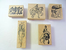 Lot of 5 Medievil Royal Knight Sword Horse Princess Maiden - Wood Mounted Stamp