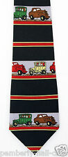 New Antique Car Road Show Mens Necktie Cars Autos Ford Chevy Black Neck Tie