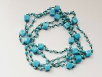"Vintage Art Deco 42"" Blue Glass Wire Beaded Necklace"