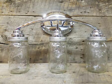Mason Jar Light 3-Light Chrome Vanity Light Authentic Ball Mason Jars