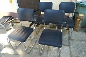 4 Bauhaus-Stühle +Tisch Stuhl Freischwinger Mauser Stahl Marcel Breuer gebraucht