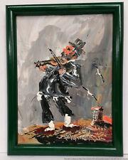 Morris Katz Signed Original Oil Painting On Panel Fiddler 1988