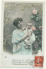 French RPPC postcard - woman with baby
