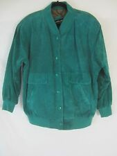Pelle Suede Leather Button Front Green Lined Coat Jacket Women's Medium - SR16