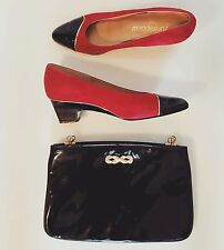 1980s Vintage Women's Black & Red Patent Leather Heels 7.5 N Plus Matching Purse