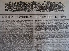 1872 THE LONDON TIMES Saturday 14th September 1872 Antique Victorian Newspaper