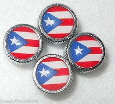 Puerto Rico Country Flag Tire(Cars or Bikes) Valve Caps (Set of 4)