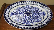 """Antique Flow Blue **HEARTS BORDER** 15.5"""" Stoneware Platter 1868-1883"""