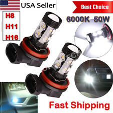 2x 6000K H8 H11 H16 Super White 50W High Power LED Fog Driving Lights Bulbs