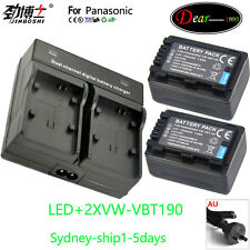 LED Charger+2xBattery for Panasonic VW-VBT190 VBT380 HC-VX870 VX980 W580 V380 AU