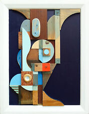 Abstracto contemporáneo Collage Cubista Moderno Original alivio Escultura
