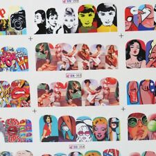Fashion Nail Art Adhesive Sticker Complete Decals Wraps Water Transfer 12PCS