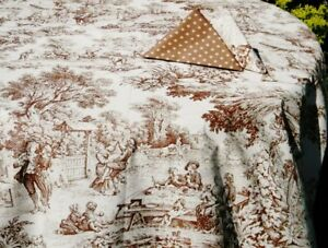 """LE CLUNY, TRIANON CHOCOLATE FRENCH TOILE COATED COTTON TABLECLOTH, 72"""" x 52"""""""
