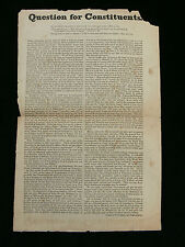 """c1840's Anti-Papist Printed Broadside """"Question for Constituents"""" London"""