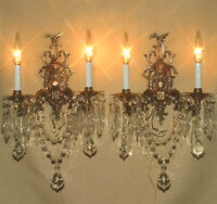 Pair Vintage Bronze Brass French Spanish lamp Hollywood Sconces crystal prisms