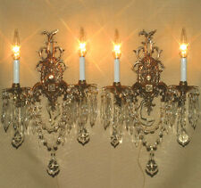 """2 Vintage Gilt Bronze Brass Crystal lamp Sconces ROCOCO stl wall chandeliers 19"""""""
