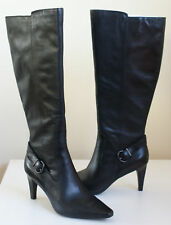 $200 CIRCA Joan David ENTERTAIN Black Leather Knee Zip Boots Womens 9 NEW IN BOX