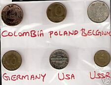 6 DIFFERENT COUNTRIES COINS LOT WITH COLOMBIA BELGIUM GERMANY # M 8