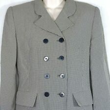 Vintage Kasper & Company Double Breasted Blazer Women Size 4 Black Houndstooth