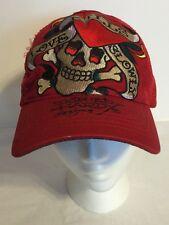 Don Ed Hardy Adjustable Trucker Cap Hat Designs Love Kills Slowly Red VTG