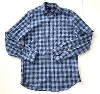 J Crew Mens Blue Button Down Plaid Long Sleeve Casual Formal Shirt Medium M
