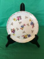 """""""R"""" FINE CHINA MADE IN GERMANY CABINET PLATE FLORAL EMBOSSED GOLD TRIM 7.5"""" ACRO"""