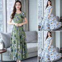 Women's Floral Print Dress Maxi Short Sleeve Summer Casual Slim A Line Dresses