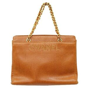 CHANEL Caviar Skin Chain Shoulder Tote Satchel Hand Bag Brown Gold Italy