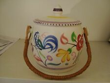 Poole Pottery Biscuit Barrel - cockatoo & floral design with wicker handle 18/34
