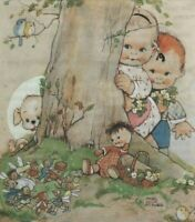 MABEL LUCIE ATTWELL CHARMING ORIGINAL BOOK PRINT 1990's Behind The Tree