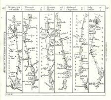 Antique map, The Road from Tinmouth to Carlisle