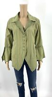 Cynthia Ashby Women's Jacket Size XS Green Linen Blend Button Up Lagenlook D1