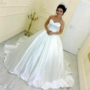 Elegant Strapless Wedding Dresses Satin Ball Bridal Gowns Sleeveless Sweep Train