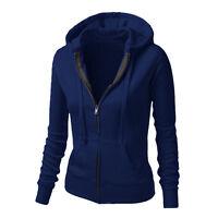 Women Plain Hoodies Fleece Sweatshirt Hooded Coat Casual Zipper Jacket Outwear
