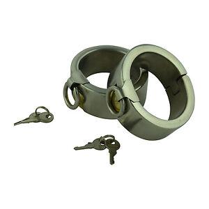 1 Paar Stahlarmbänder klein oval 45x60mm Handschellen Handfessel Handeisen NEU