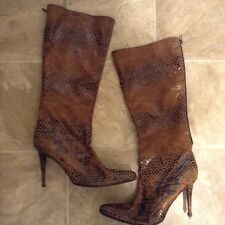 Victoria Secret Brown Leather Snake Skin Print Knee Highe Stiletto Boots Sz 11