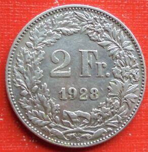 2 Schweizer Franken 1928 Silber Kursmünze