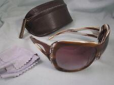 SPY Optic Sunglasses KIRA Brown White Plastic Butterfly Shaped Frames Wood Grain