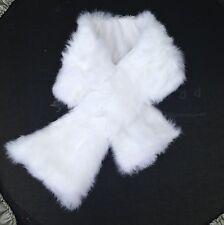 BIANCANEVE reale vera pelliccia di coniglio pelliccia collare sciarpa Fodera in satin 92cm x 16cm